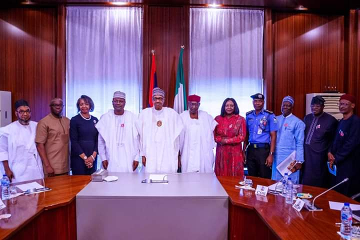 President Buhari Meets With INEC Chairman At The State House