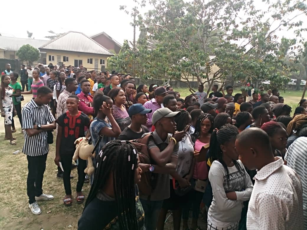 NUC. JAMB Requirements: Mammoth crowd of under aged citizens fill up Eket Council Secretariat for National ID Card Registration.