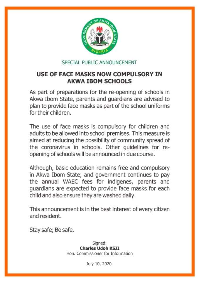 BREAKING: AKSG Makes Wearing Of Face Mask Compulsory As Plans To Re-open Schools Underway