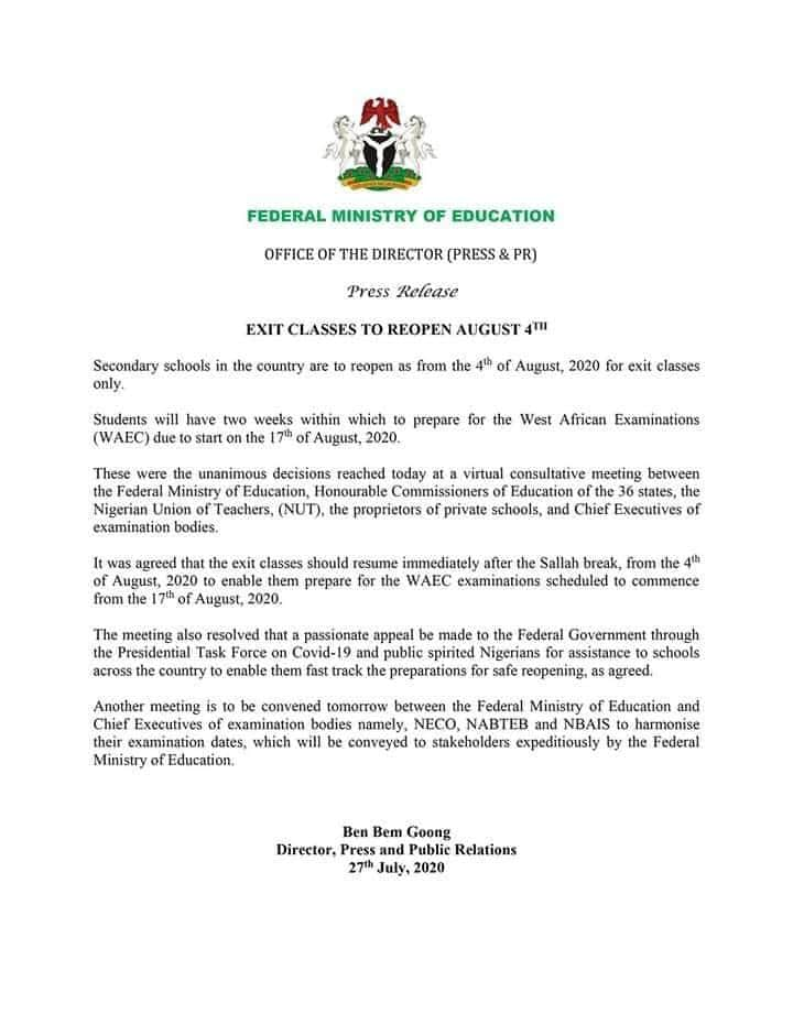 BREAKING: Federal Government Fixes Date For Resumption Of Secondary Schools